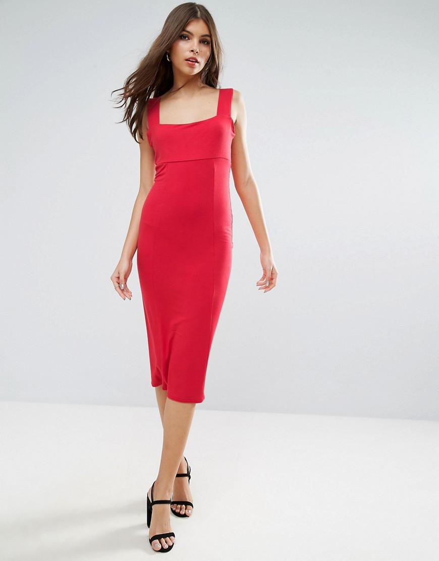 71ba2e3d64aa ASOS Thick Strap Square Neck Midi Bodycon Dress in Red - Lyst