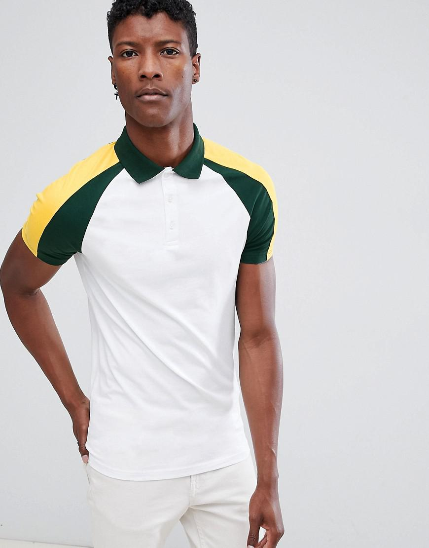 3ef3bfe3 ASOS - White Muscle Fit Polo Shirt With Double Contrast Raglan for Men -  Lyst. View fullscreen