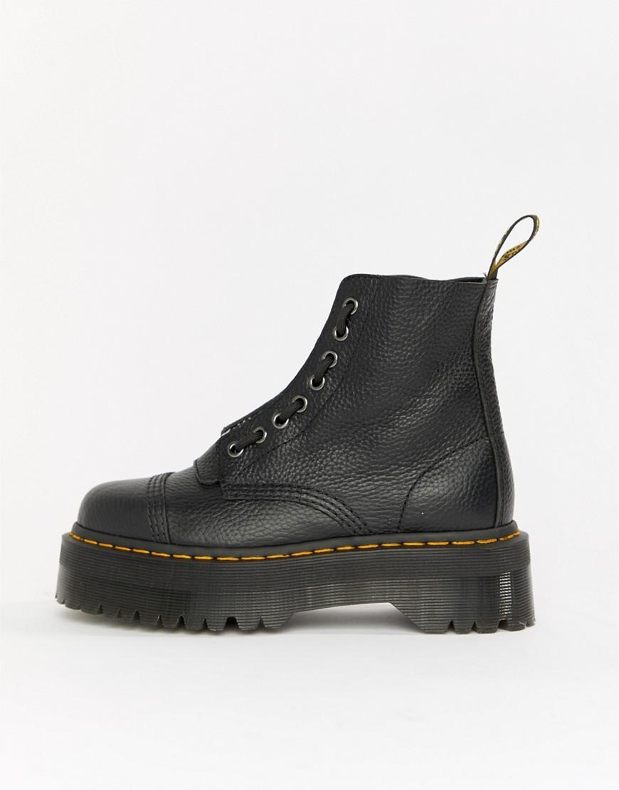 4d37961ac Botas con plataforma plana gruesa en negro cuero con cremallera ...