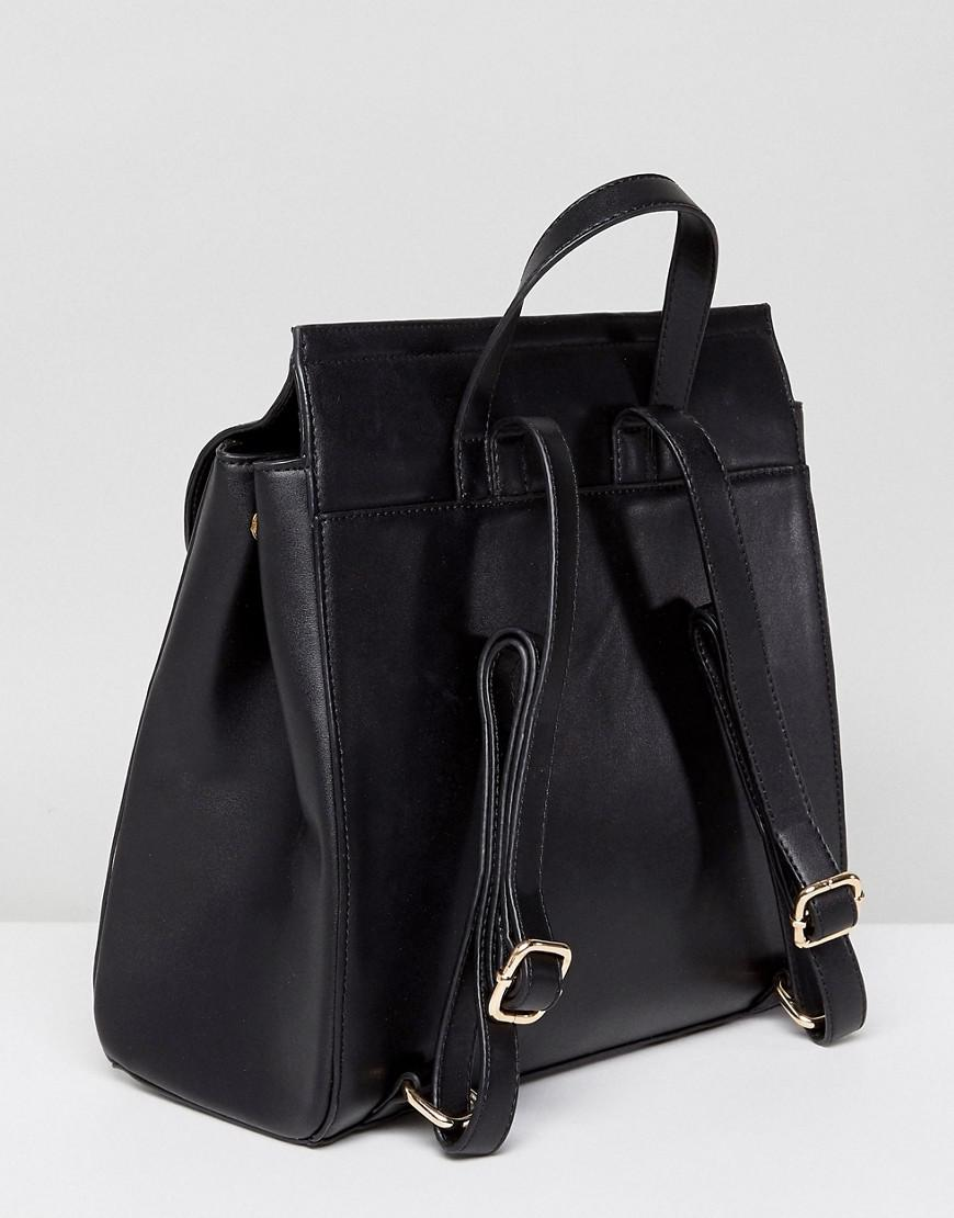 Real Leather Western Buckle Backpack - Black Park Lane mRV1Alb5ay