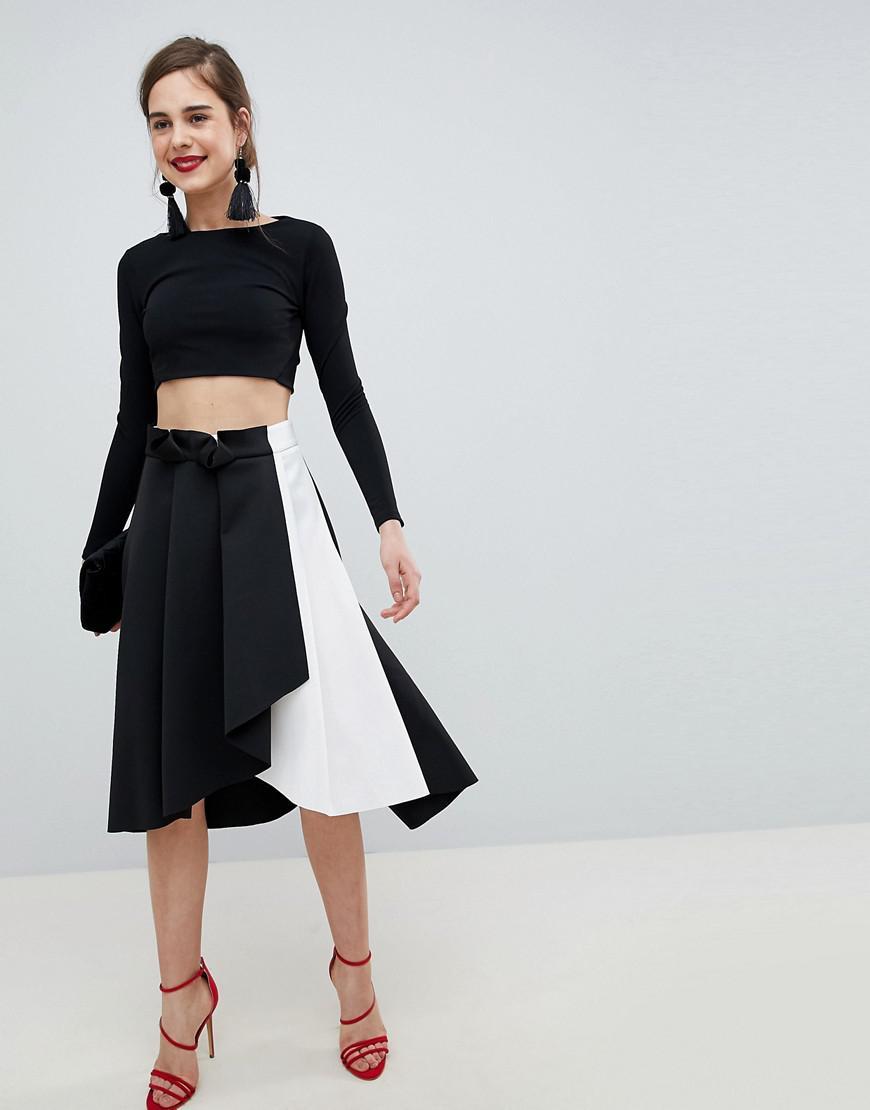 1d79dd17e297e2 ASOS Scuba Prom Skirt With Wrap In Mono Color Block in Black - Lyst