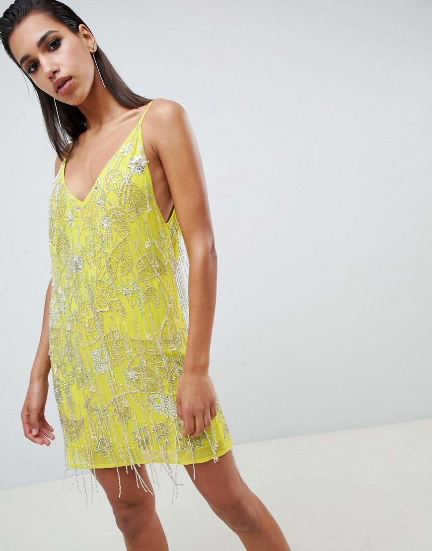 4a45522cf579 ASOS. Women's Cami Embellished Fringe Mini Dress