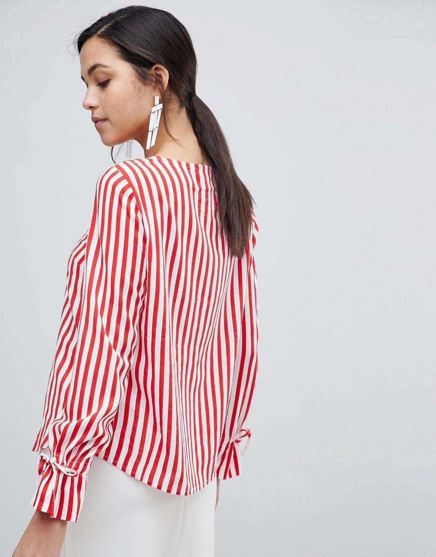 2e483bb9c8882d Y.A.S Trey Striped Top With Tie Cuff in Red - Lyst