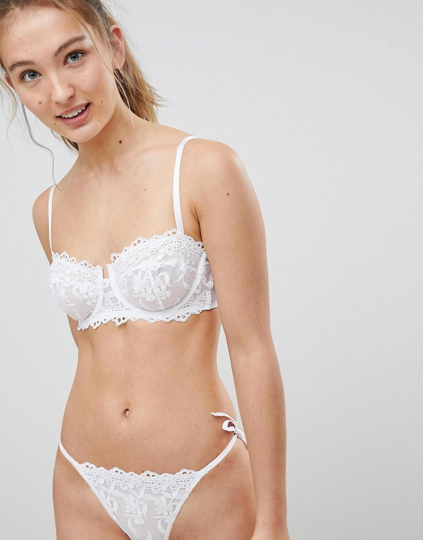61dcd98fe76e6 Lyst - New Look Cotton Embroidered Lace Bra in White