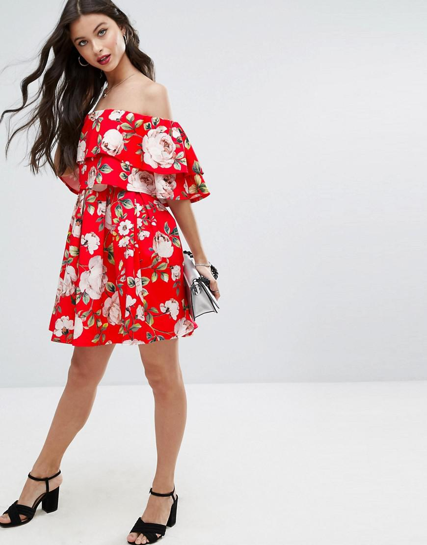 4f812e881de9 Lyst - ASOS Rose Floral Off Shoulder Ruffle Mini Dress in Red