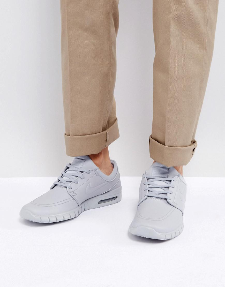 cheap for discount 958df 990b5 Nike Stefan Janoski Max Leather Sneakers In Grey 685299-012 in Gray ...