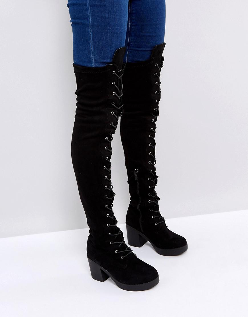 8d770b626b8 Truffle Collection Chunky Heel Over Knee Boot in Black - Lyst