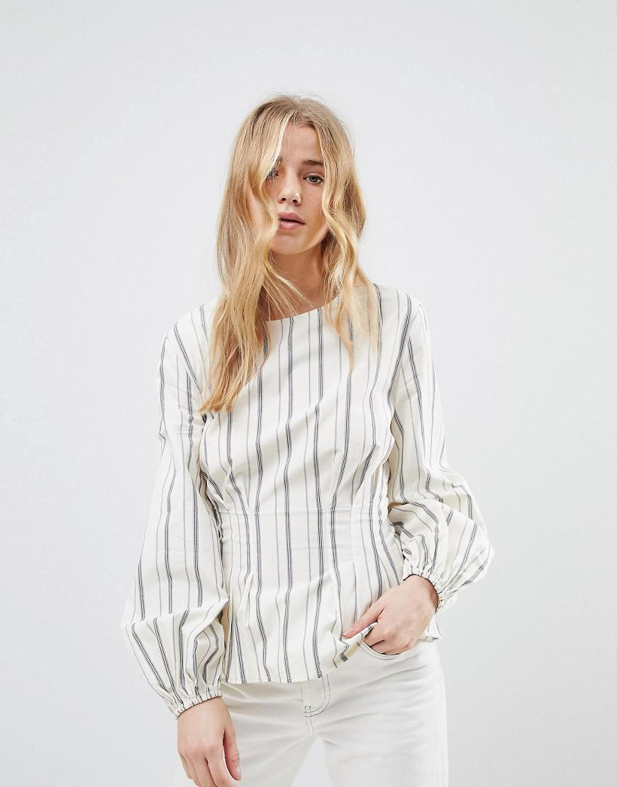 4a9a42036ef132 Lyst - New Look Stripe Cotton Puff Sleeve Top in White