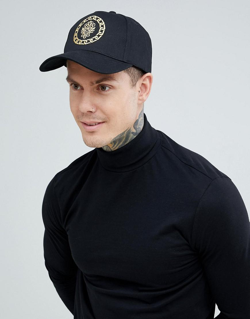 0aed701e1eeab Lyst - ASOS Baseball Cap In Black With Embroidered Detail in Black ...