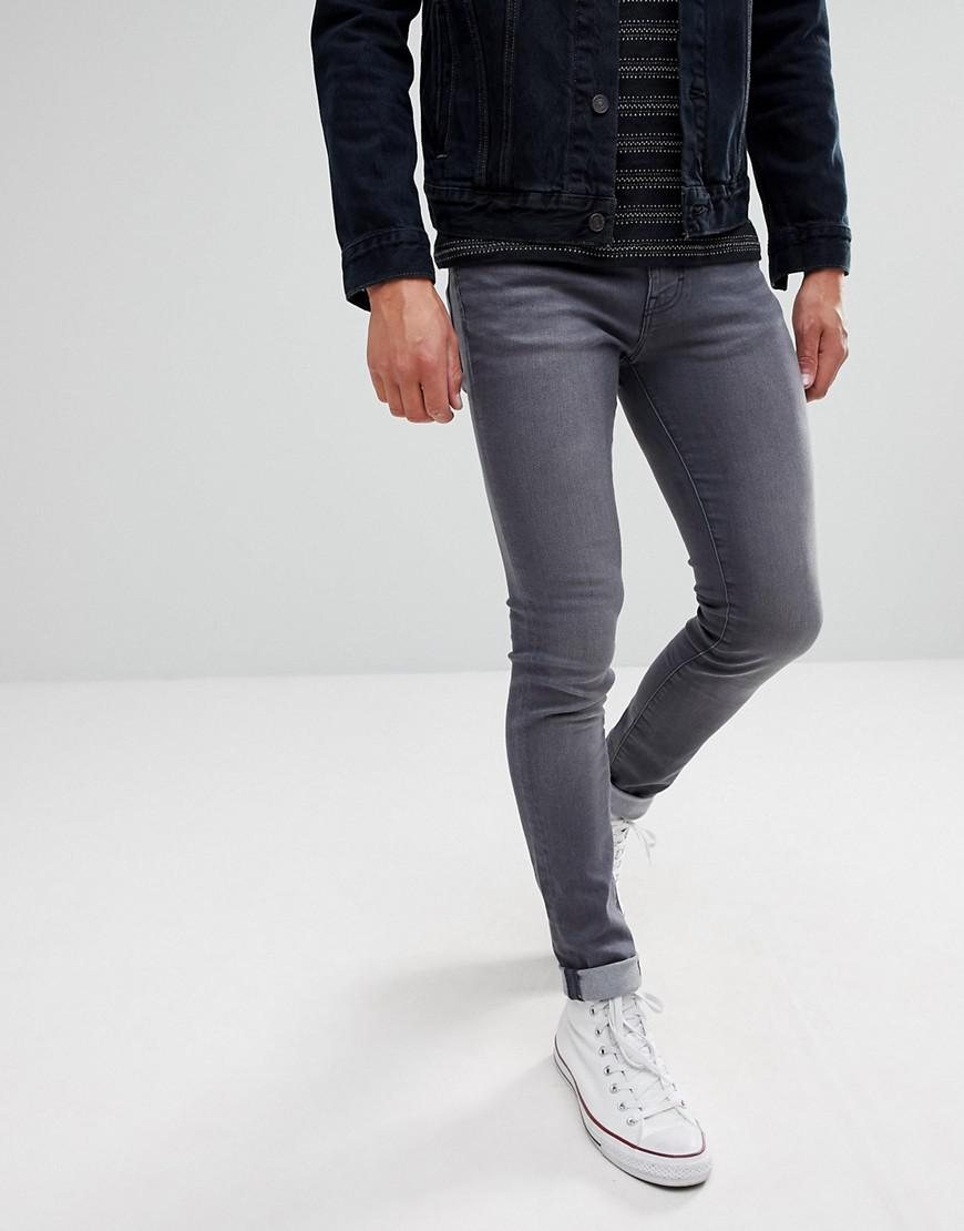 Super Skinny Spray on Jeans in Charcoal Grey - Grey Wåven