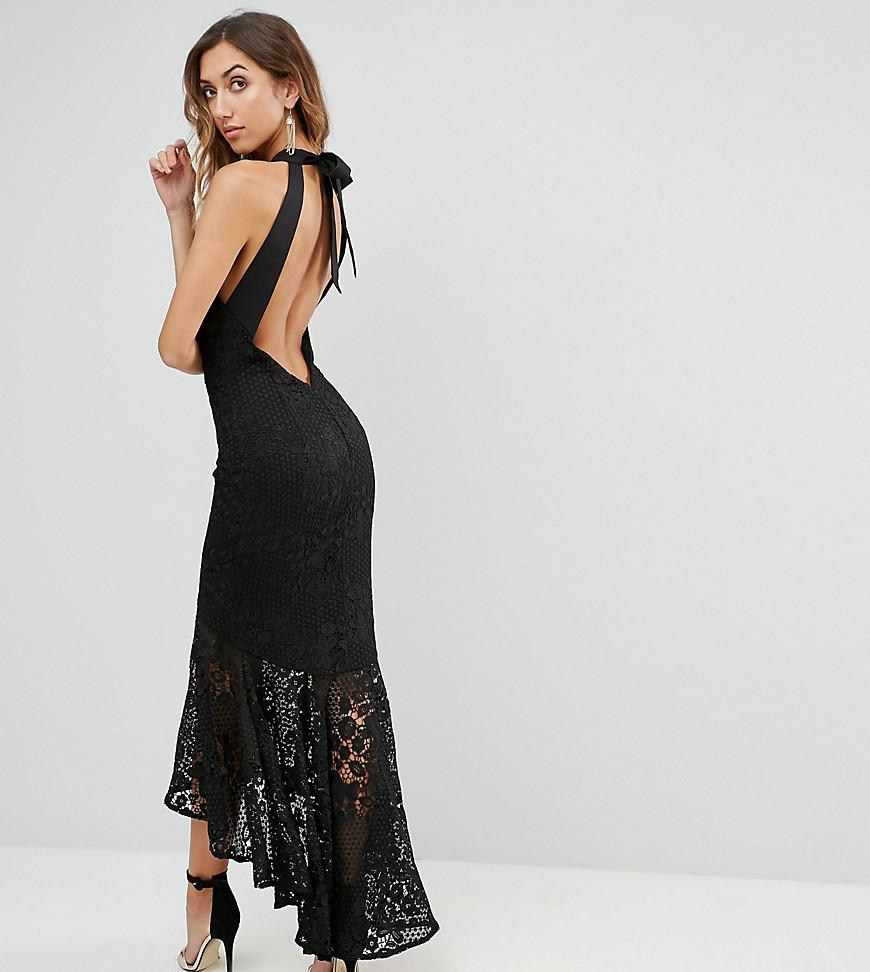 c80759a7dcb Jarlo Allover Cutwork Lace High Low Maxi Dress With Tie Neck Detail ...