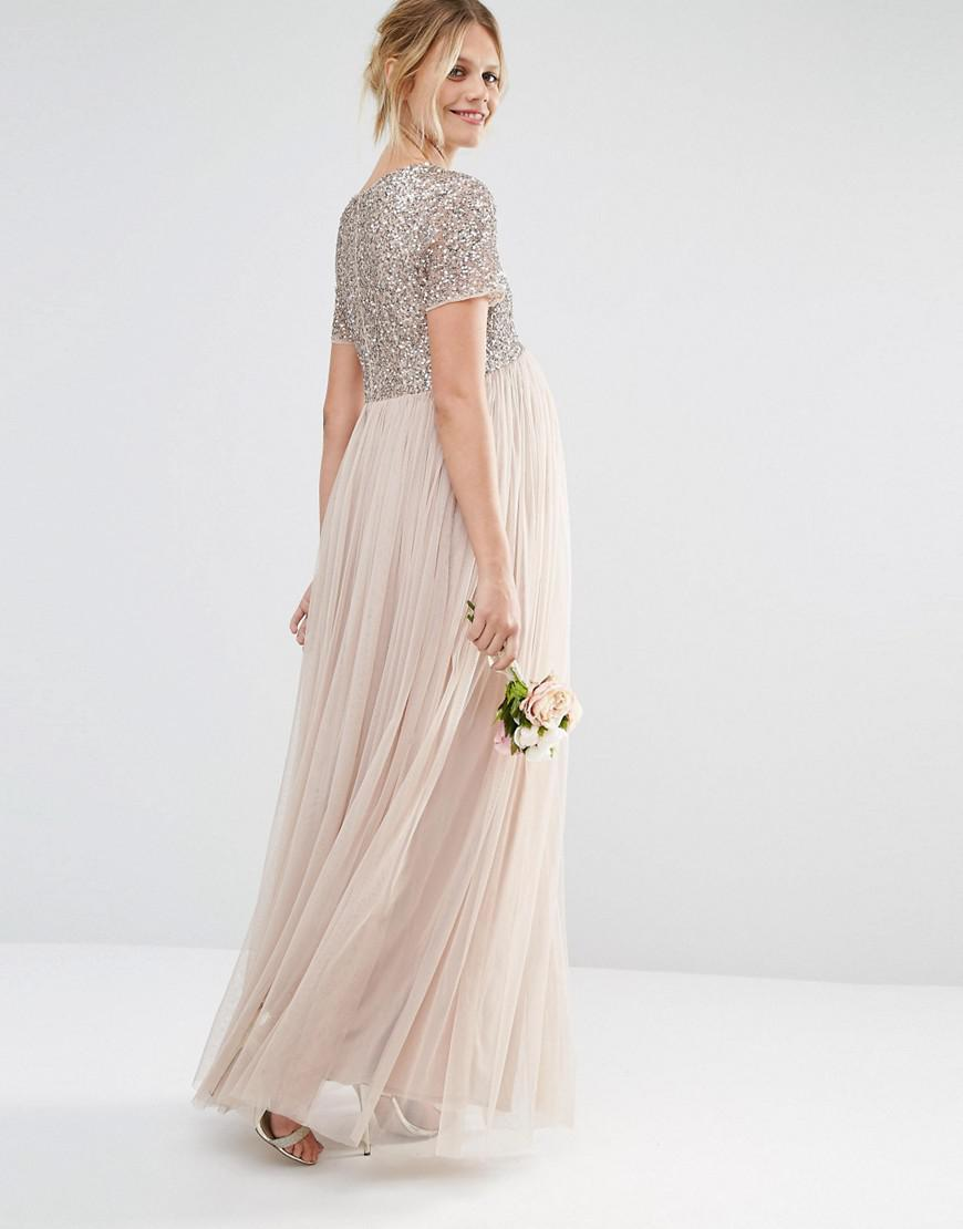 4e2991f6a37ef Maya Maternity V Neck Maxi Tulle Dress With Tonal Delicate Sequins ...