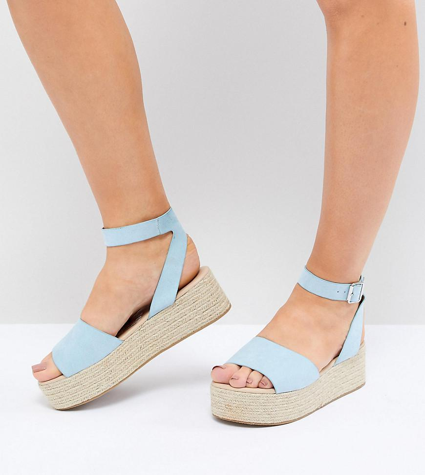 2c49b1cabb41 Lyst - ASOS Thear Wide Fit Espadrille Flatform Sandals in Blue