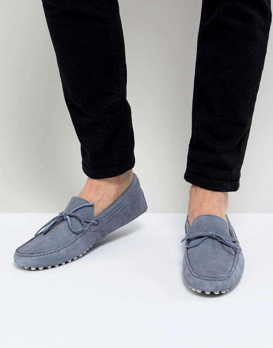9c189db6ce45 Lyst - ASOS Driving Shoes In Blue Suede With Tie Front in Blue for Men
