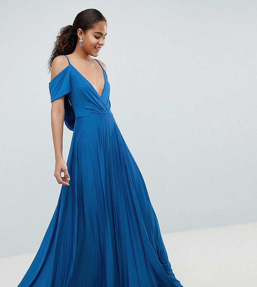 33bab45d97 ASOS Asos Design Tall Cold Shoulder Cowl Back Pleated Maxi Dress in ...