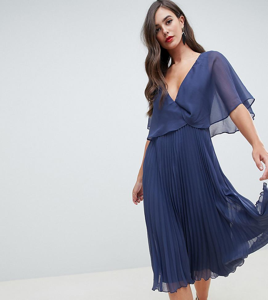 ASOS. Women s Blue Asos Design Tall Flutter Sleeve Midi Dress With Pleat  Skirt efc392d76