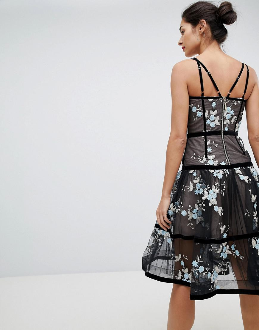 Caged Midi Dress with Floral Embroidery - Black Bronx and Banco xPwk5AA