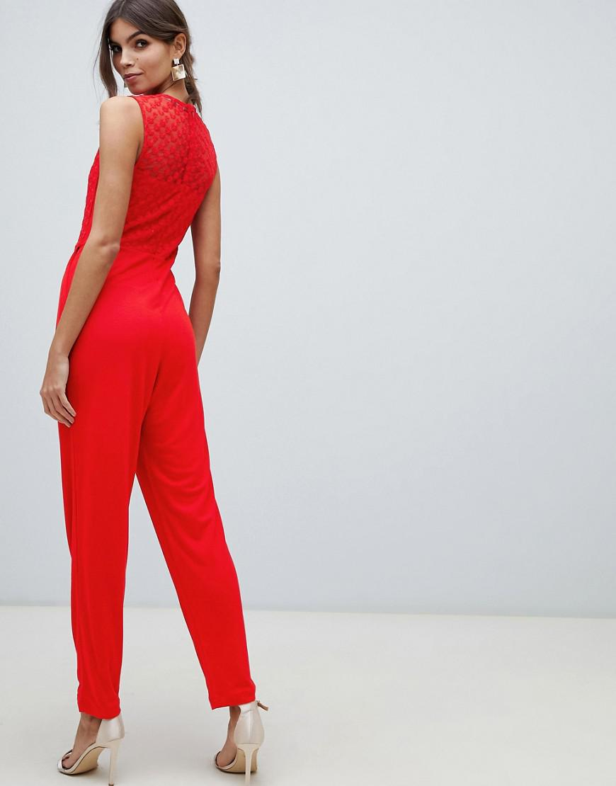 0be4dbcd8239 Lyst - French Connection Fitted Jumpsuit in Red