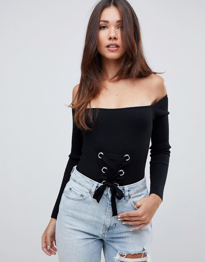 Missguided Lace Up Bardot Knitted Bodysuit in Black - Lyst 928803c87