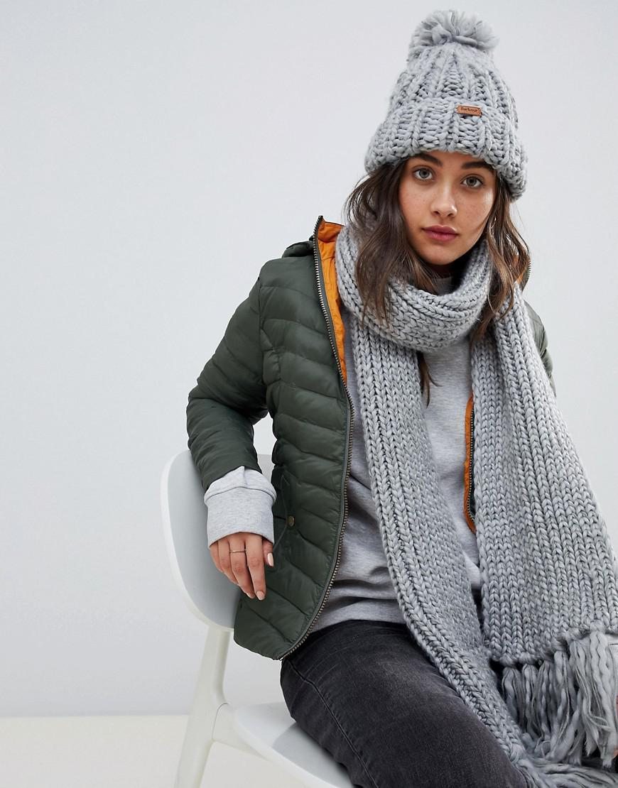 Barbour Chunky Knit Bobble Hat And Scarf Set in Gray - Lyst 1642948a6584