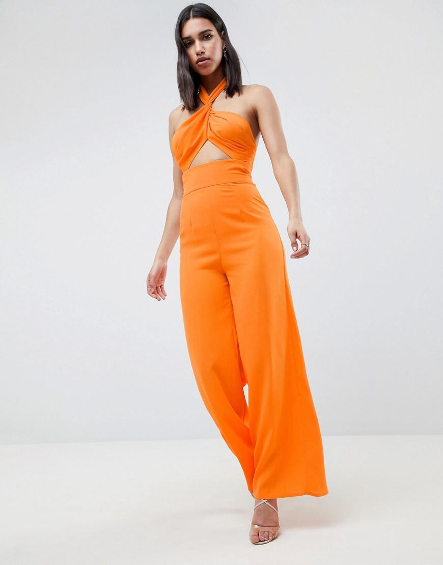 9b9a4feeb317d Lyst - ASOS Cross Front Jumpsuit With Twist Neck And Wide Leg in Orange