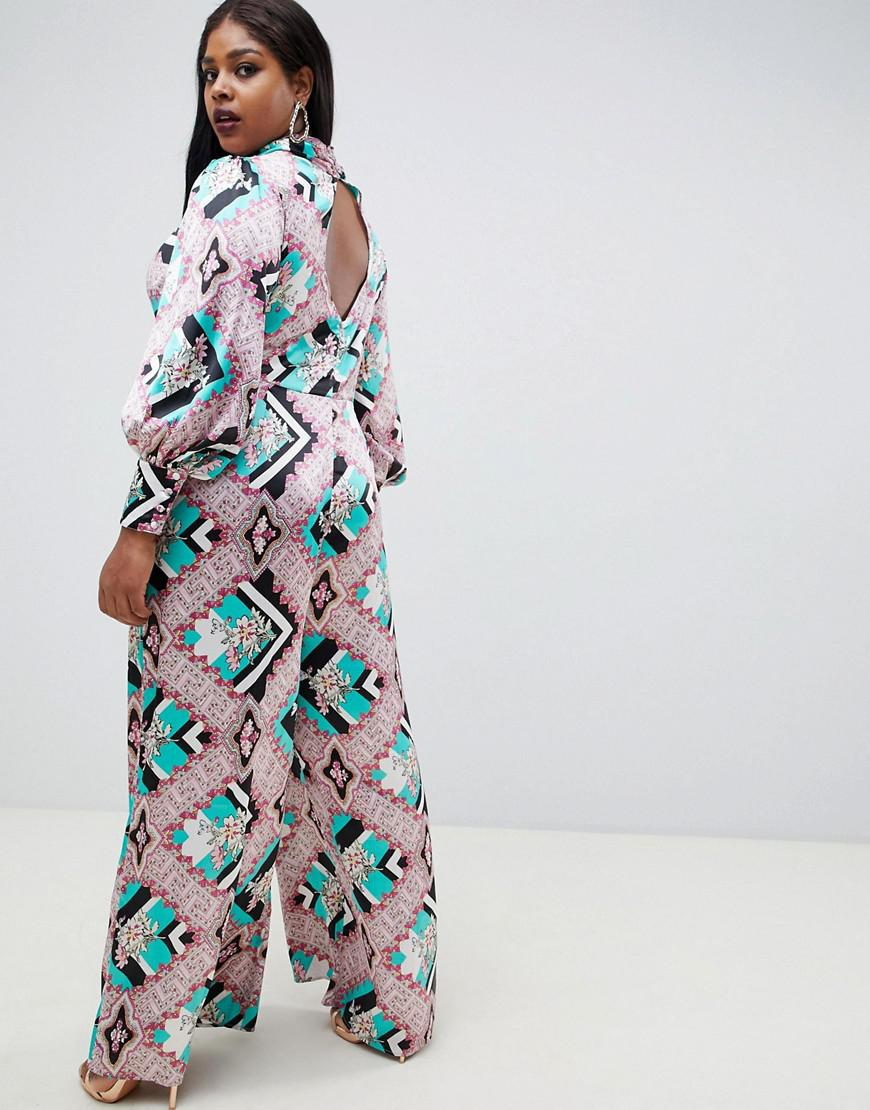 ec6a3a2c3806 ASOS Asos Design Curve Jumpsuit With High Neck And Blouson Sleeve In Mixed  Floral Print in Blue - Lyst