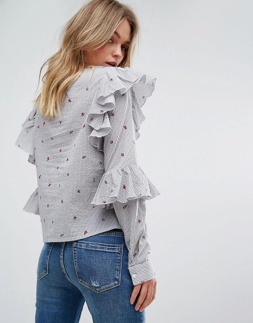Purchase Sale Online Cheap Online Stripe Floral Ruffle Sleeve Blouse - Multi Vero Moda Discount Manchester Great Sale L8pWE