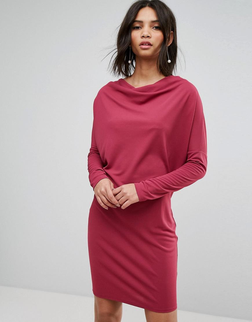 Crepe Column Dress with Drape Shoulder & Batwing Sleeves - Black Asos ugB7jXF1B