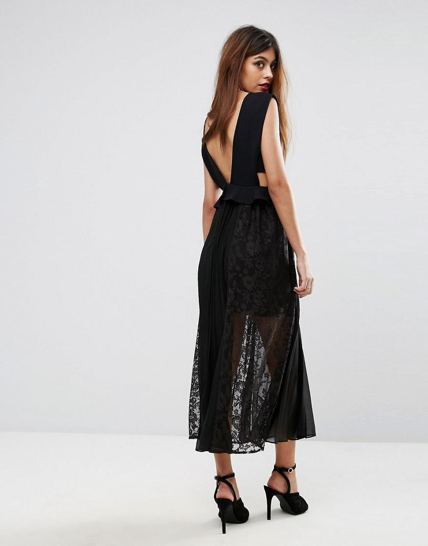 cd826f5c59e French Connection Angelina Plunge Neck Lace & Pleat Dress in Black ...