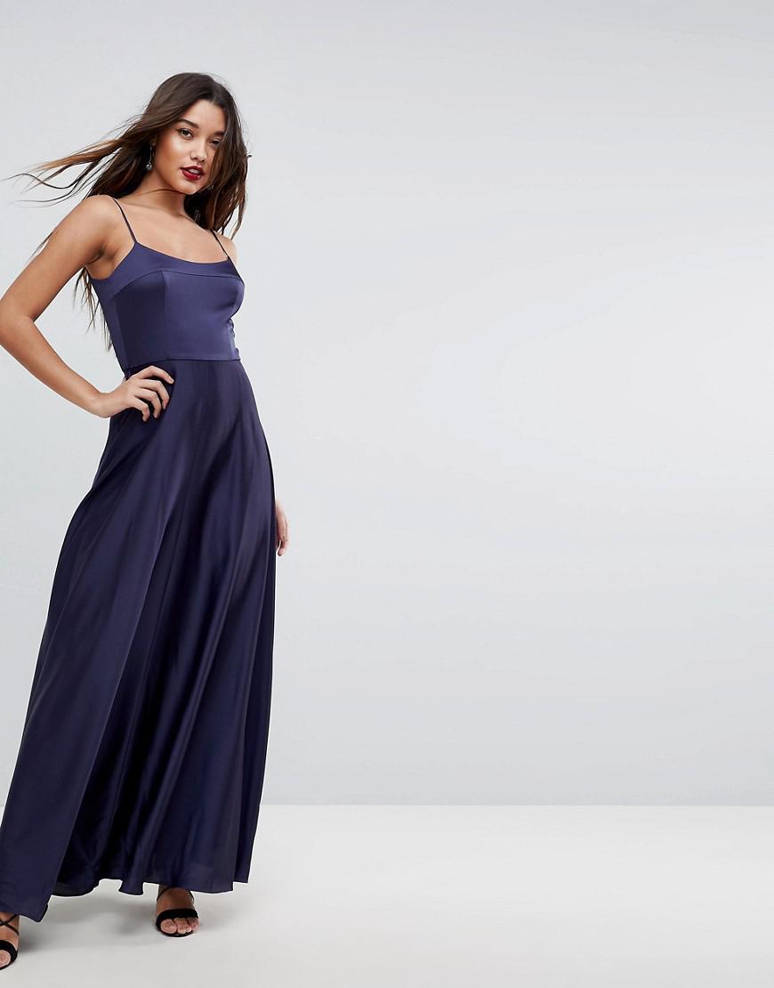 920b13d95ef ASOS Square Neck Cami Maxi Dress in Blue - Lyst