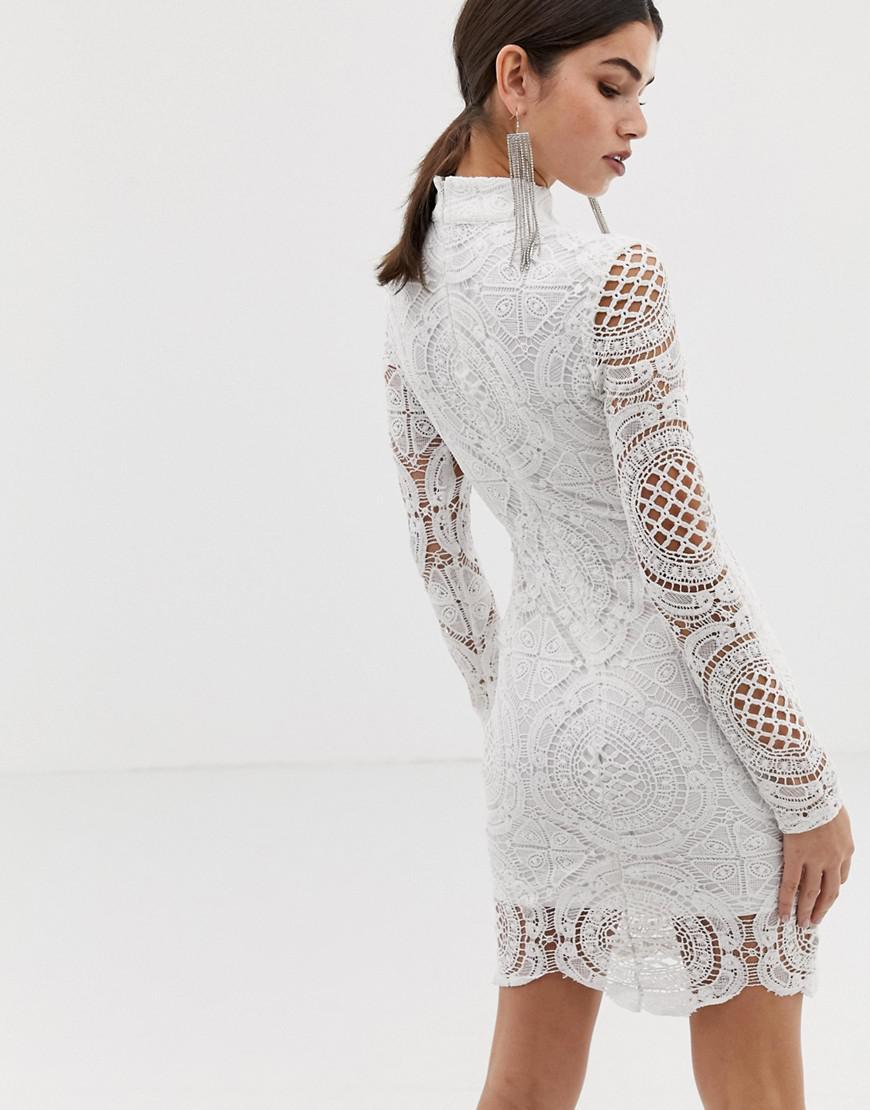 b54e5182833f Long Sleeve Lace Mini Dress White – DACC