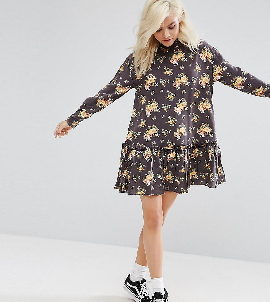 18025af924 Lyst - ASOS Washed Mini Dress With Ruffle Hem In Floral Print