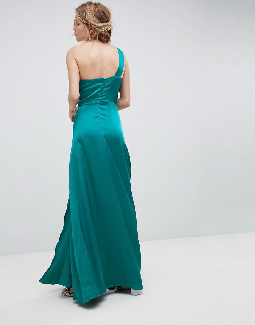 8f25232d8f Little Mistress One Shoulder Maxi Dress With Ruched Detail in Blue - Lyst