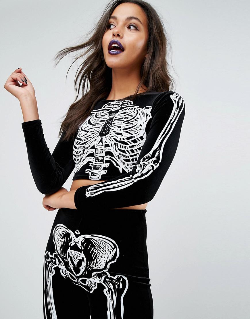 lyst - missguided missgudied halloween velvet cropped skeleton top