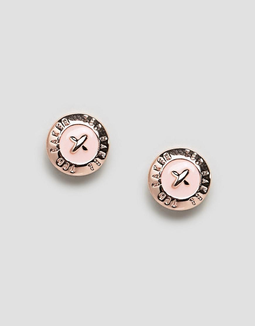 d9919943577d6 Lyst - Ted Baker Baby Pink Enamel Mini Button Earrings in Metallic