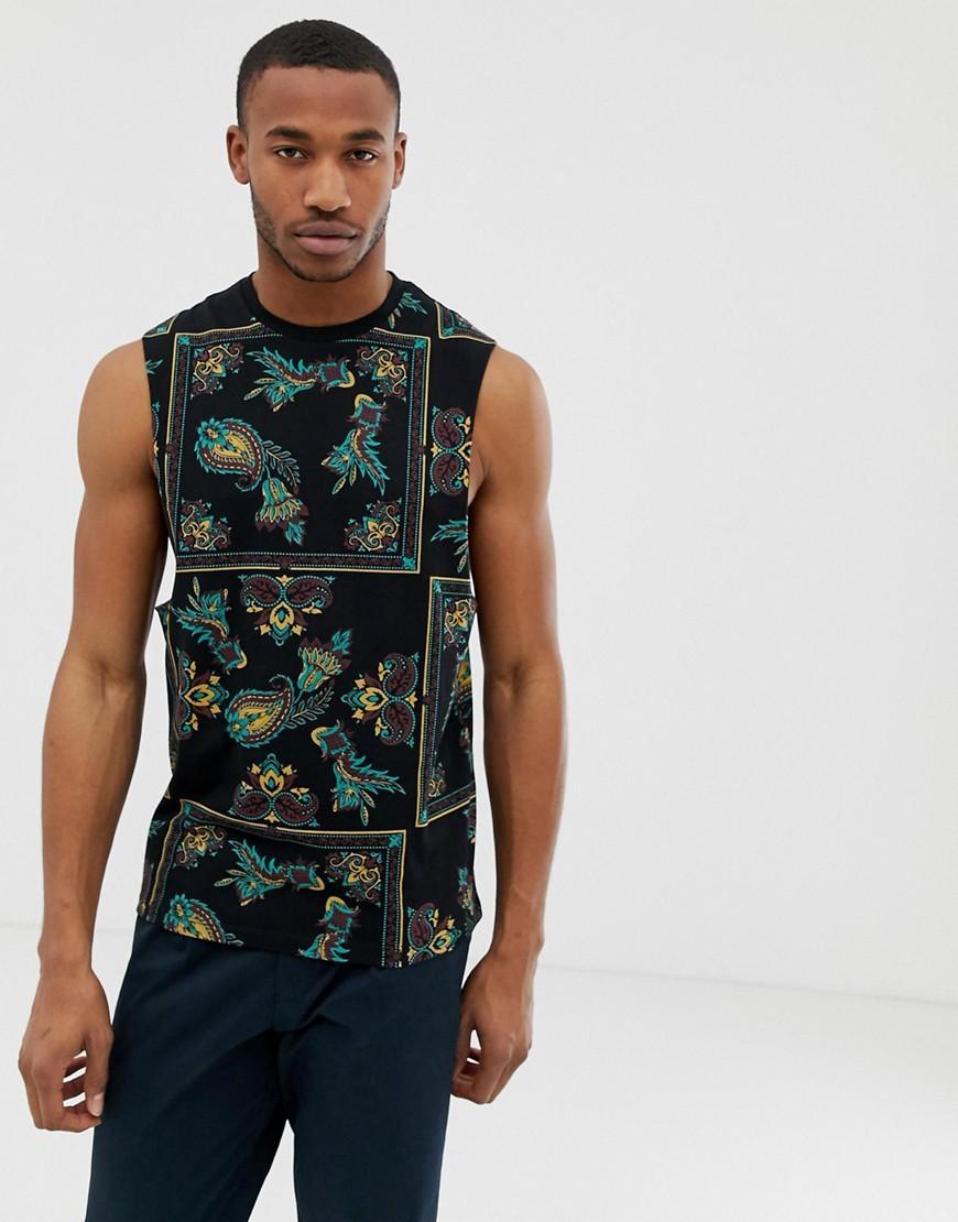 8f082cf4048fa ASOS Sleeveless T-shirt With Dropped Armhole With All Over Bandana ...