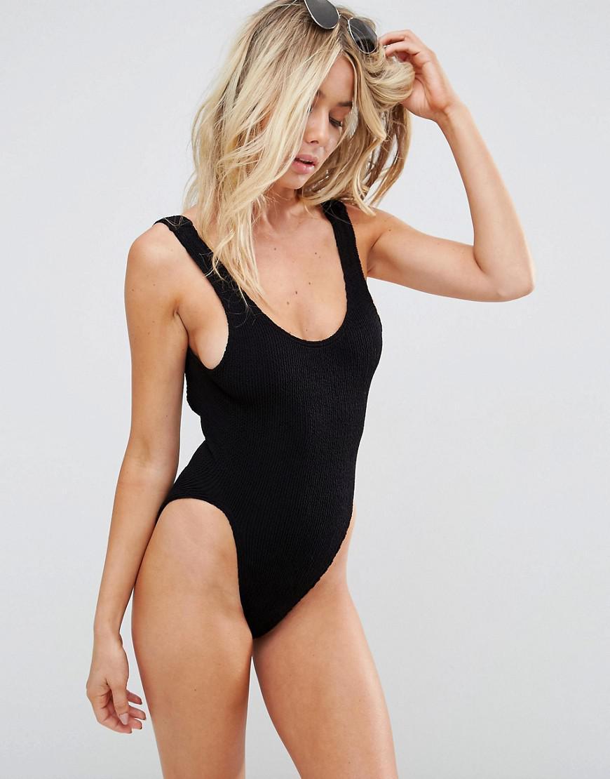 Asos Crinkle High Leg Swimsuit in Black