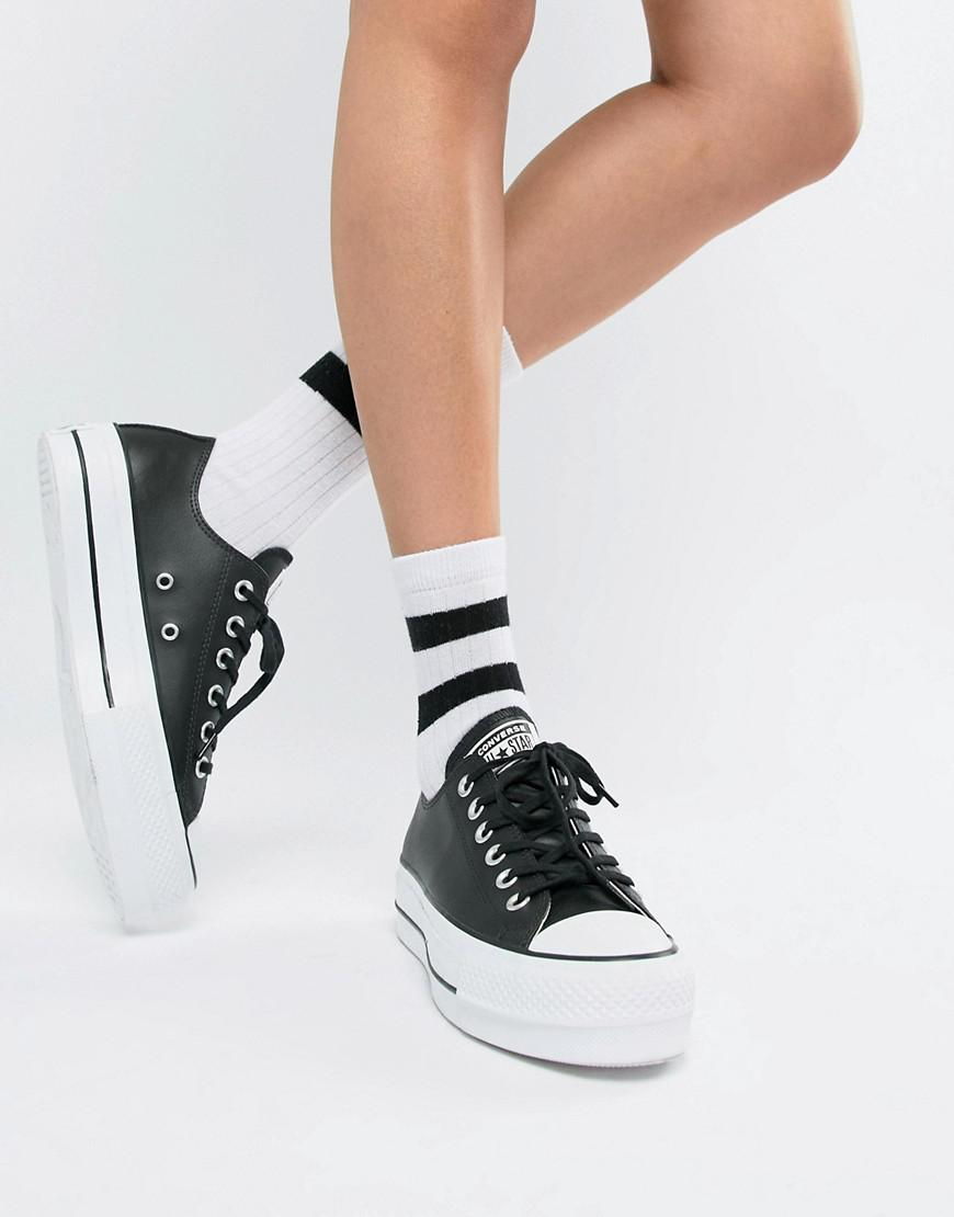 19dcdb1e3d1 Converse Chuck Taylor All Star Leather Platform Low Sneakers In Black in  Black - Lyst