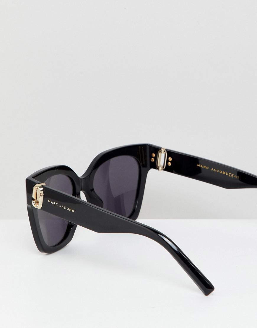Lyst - Lunettes de soleil carres oversize Marc Jacobs en coloris Noir -  7.831325301204814 % de réduction e914364f83d6