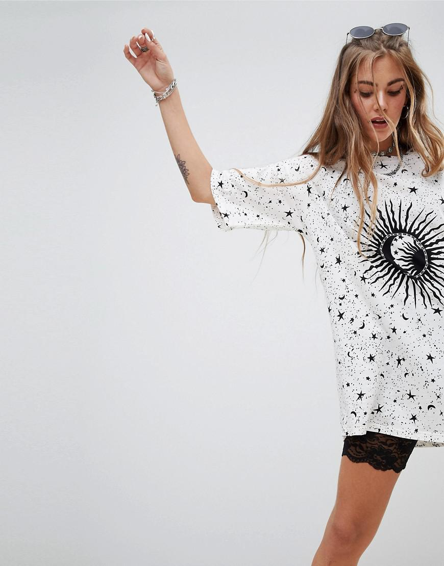 36942bc8 Motel Oversized T-shirt Dress In Sunburst Print in White - Lyst