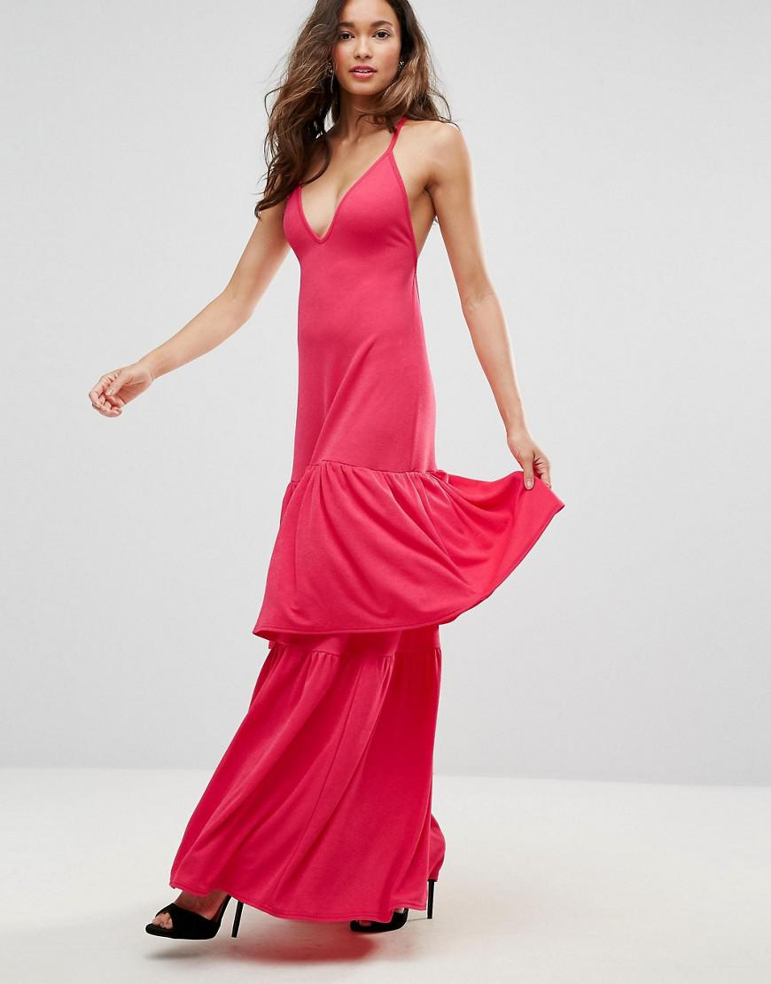 Club L Plunge Neck Ruffle Layer Detail Maxi Dress in Red - Lyst 5ba800e1d