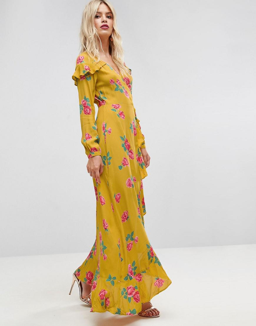 51316e3bfe3c ASOS Long Sleeve Wrap Maxi Tea Dress In Bold Floral in Yellow - Lyst
