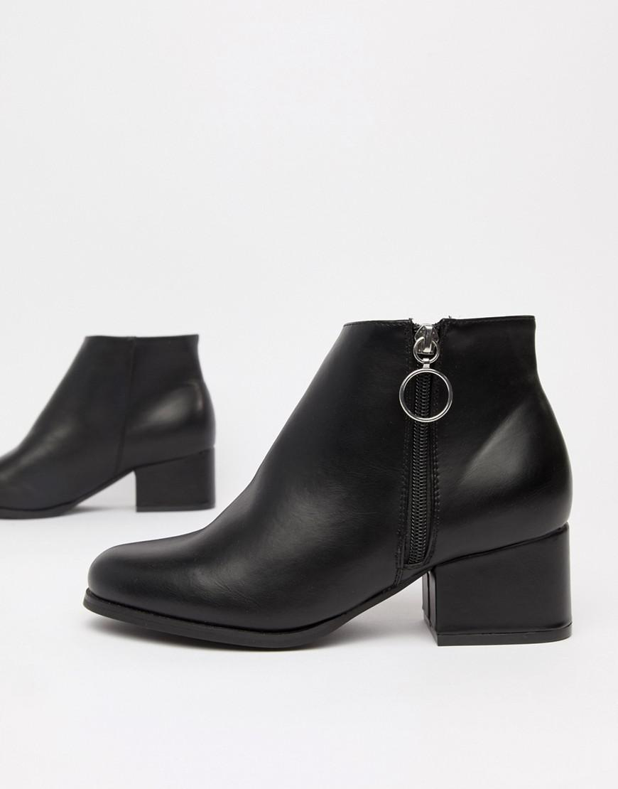 0139e06df30f London Rebel Side Zip Heeled Ankle Boots in Black - Lyst