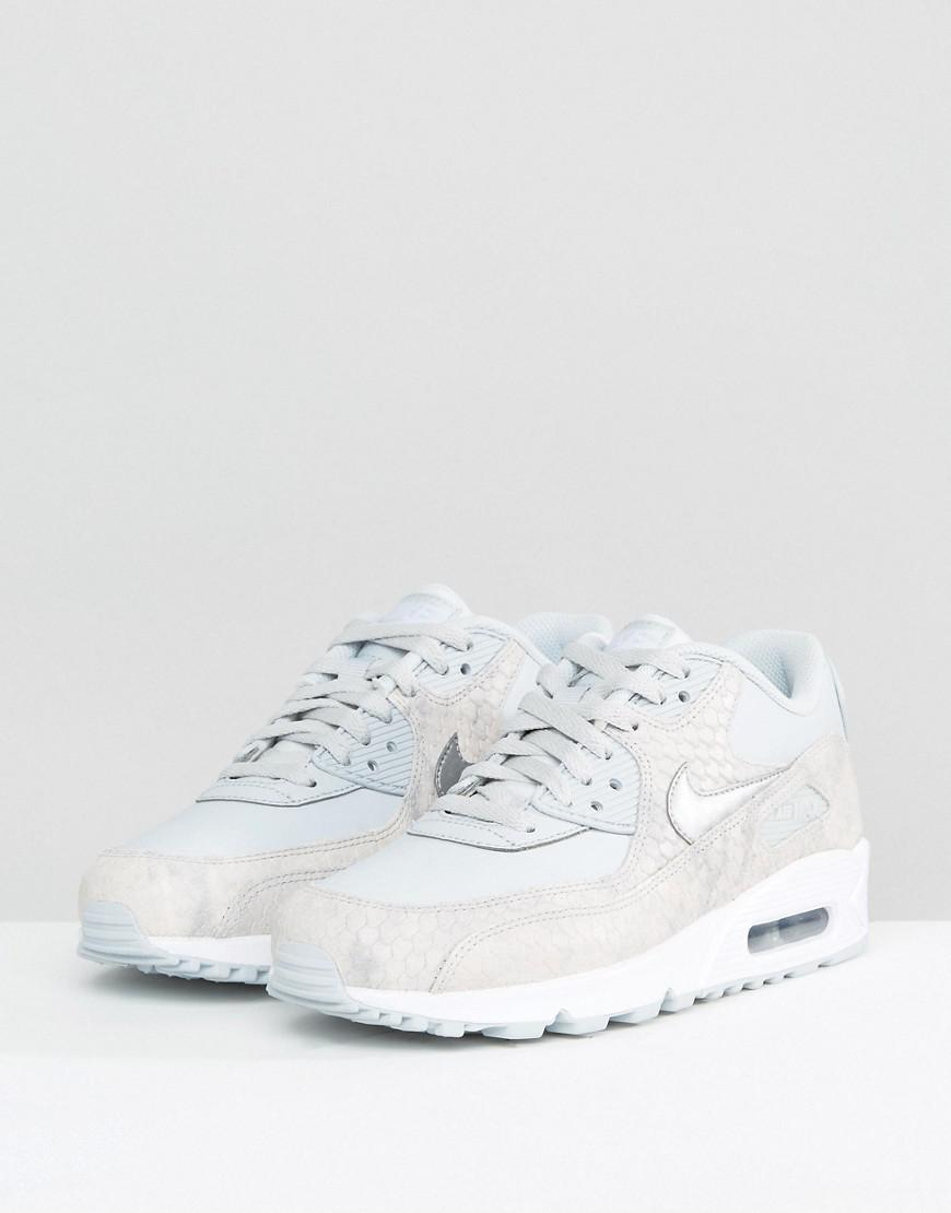 a27e0c4ee7 ... france nike air max 90 premium trainers in grey faux snake in gray lyst  7d0fa 36b45