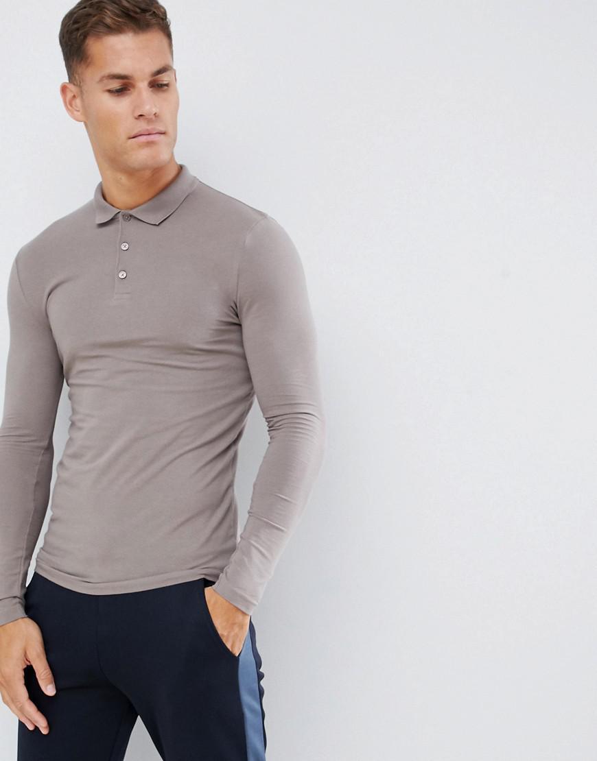 92020649 Lyst - ASOS Muscle Fit Long Sleeve Polo In Jersey In Beige in ...