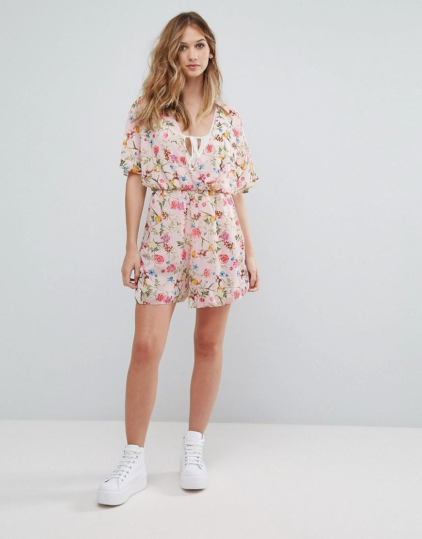 bbd98095b11 Lyst - Oh My Love Tall Batwing Floral Playsuit