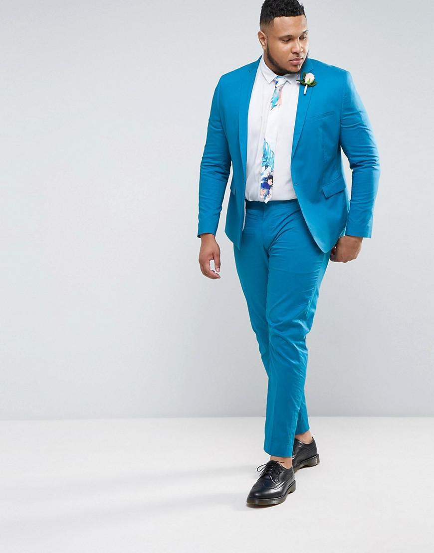 Asos Plus Wedding Skinny Suit Jacket In Ocean Blue Stretch Cotton in ...