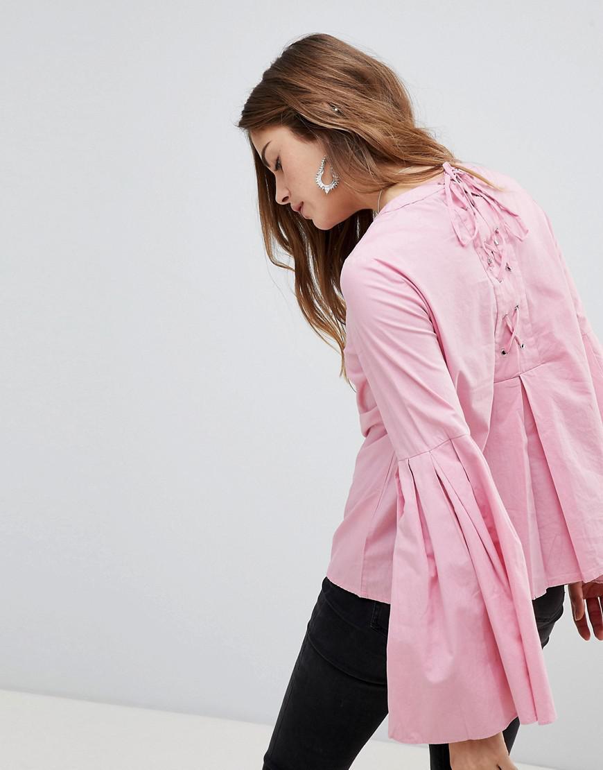 64385c98302 Lyst - Vero Moda Bell Sleeve Top in Pink