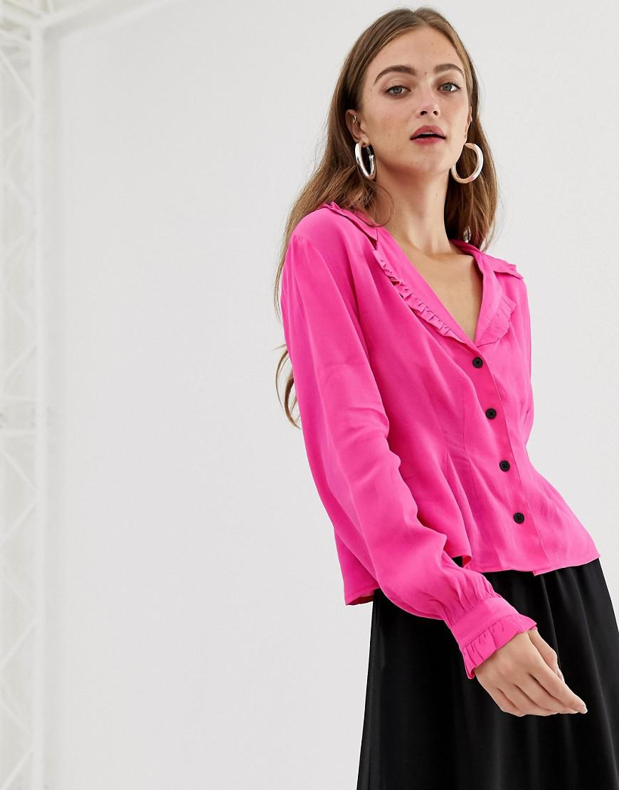 89a3345d402c3 Lyst - Asos Long Sleeve Waisted Tea Blouse With Collar Detail in Pink