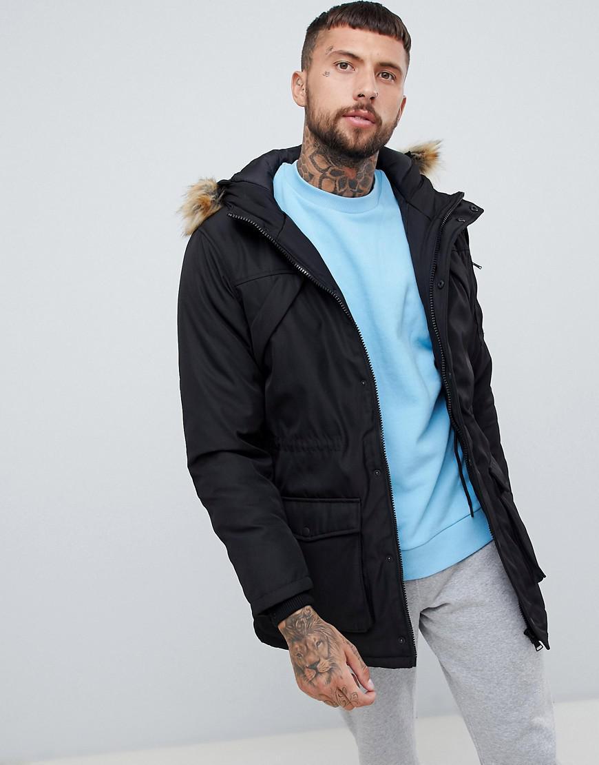 100315b3b189 Bershka Parka In Black With Detachable Faux Fur in Black for Men - Lyst
